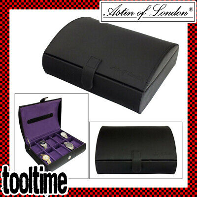 Astin Of London® Gents Pu Leather 10 Compartment Watch Box With Purple Interior • 17.59£