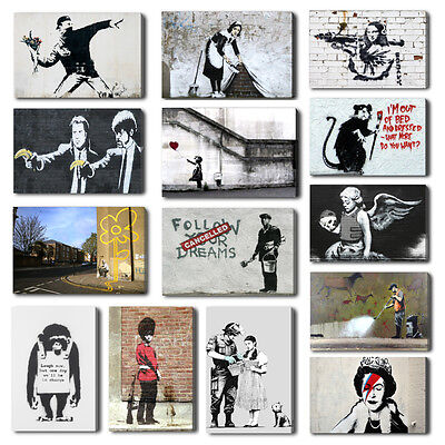 Banksy Maid, Hope, Pulp Fiction Canvas Wall Art Print, Free Hangers Many Designs • 13.99£