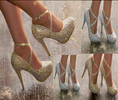 £23.99 • Buy Ladies Sparkly Glitter Diamante Detail High Heel Evening Party Shoes Sizes 3-8