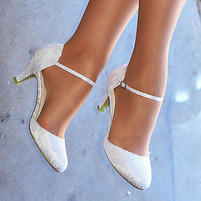 Ladies White Ivory Lace Embellished Satin Low Heel Ankle Strap Wedding Shoes  • 21.90£
