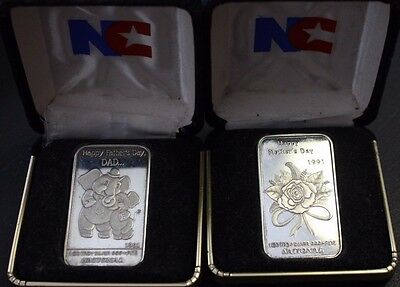 $ CDN99.95 • Buy 2x 1981 National 1 Troy Oz Fine Silver Bar Happy Father's Days Mother's Day