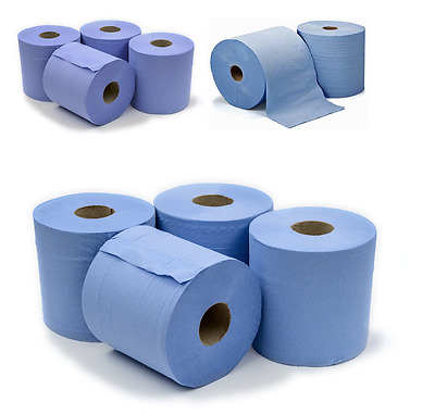 View Details 6 X Workshop Hand Towels Rolls 2 Ply Centre Feed Rolls Wipes Embossed • 8.99£