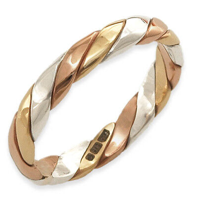 Handmade 9ct Yellow, White, Rose Gold Tri Colour Twisted Stacker Band Ring • 115£
