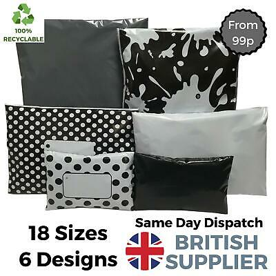 Plastic Poly Mailing Postage Packaging Recyclable Coloured Bags Grey Black White • 2.70£