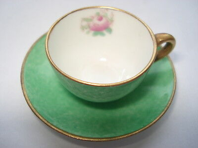Cww1 Crown Staffordshire Miniature Mottled Green & Rose Bud Pattern Cup & Saucer • 14.99£