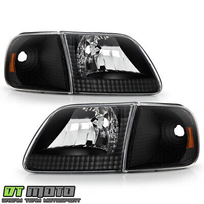 $88.99 • Buy 1997-2003 Ford F150 Expedition Black Headlights+Corner Signal Lights Left+Right