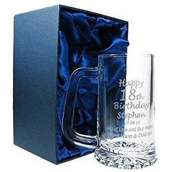 Engraved 18th Birthday Pint Glass Tankard, In Satin Lined Gift Box • 15.99£