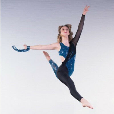 In Stock Contemporary Cut Out Modern Sequin Catsuit Blue Black Dance Costume • 49.99£
