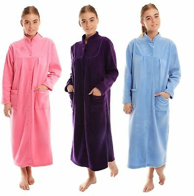 AU43.99 • Buy Womens Soft Fleece Long Sleeve Button Front & Pockets Soft Dressing Gown Jacket