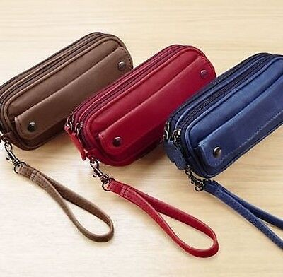 £11.45 • Buy Glasses Spectacles Specs Leather Case Holder Navy Red Tan Zip Purse Wallet Money