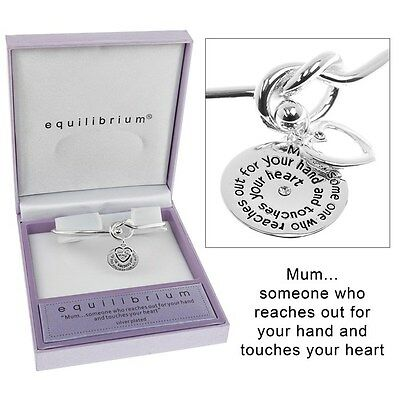 Equilibrium Silver Plated Mum Knot Message Bangle Gift Boxed • 14.39£