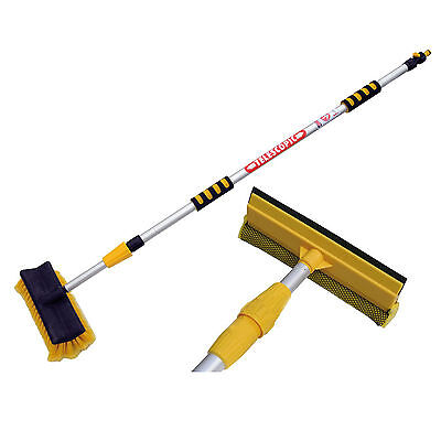 3M Extendable Pole Water Fed Telescopic Hose Wash Brush Window Squeegee Cleaner • 18.95£