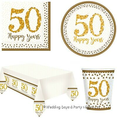 £3.49 • Buy 50th Golden Wedding Anniversary Napkins Plates Tablecover Party Tableware Decor