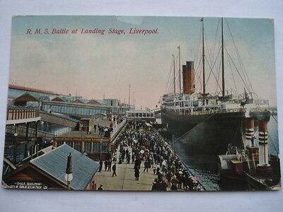 July 1913 R.m.s.baltic At Landing Stage Liverpool Postcard • 6.99£