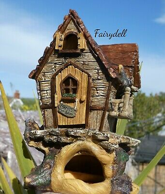 TREETOP FAIRY HOUSE COTTAGE With OPENING Door MAGICAL Garden Pixie Home • 15.95£