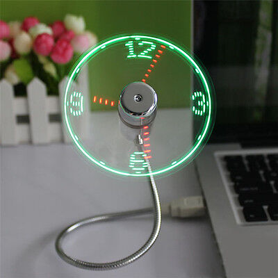 AU8.89 • Buy LED Clock Fan Mini USB Powered Cooling Flashing Real Time Display Function