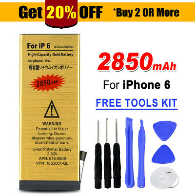 AU13.95 • Buy 2850 MAh For Apple IPhone 6 High Quality Replacement Battery Gold Tools Kit