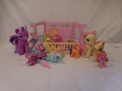 My Little Pony Newborn Cuties Nursery Crib + Mermaid Dolphin Carriage + 12 Ponys • 14.33£