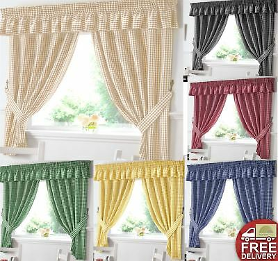 £12.60 • Buy Gingham Kitchen Curtains OR Matching Pelmet (Valance) Ready Made Many Sizes