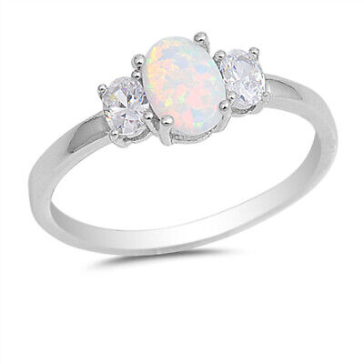 $9.79 • Buy Clear CZ White Lab Opal Solitaire Ring New .925 Sterling Silver Band Sizes 4-10