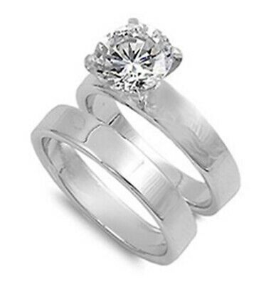 $27.39 • Buy Sterling Silver CZ Solitaire Engagement Ring Wedding Band Bridal Set Sizes 5-13