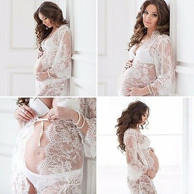 AU15.17 • Buy Women Lace Sheer Maternity Dresses Gown Photography Props Pregnant Photo Shoot