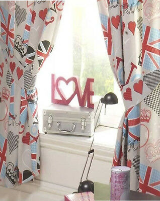 Princess Love Union Jack Curtains 72s • 17.95£