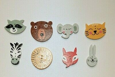 £1.20 • Buy 16 Safari Animals Novelty Wooden Buttons Kids Craft Knitting Toppers Cards