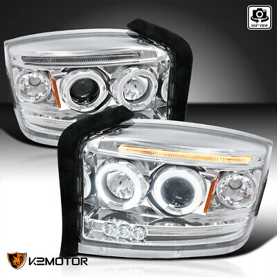 $147.61 • Buy For 2005-2007 Dodge Dakota Clear LED Strip Halo Projector Headlights Lamps Pair