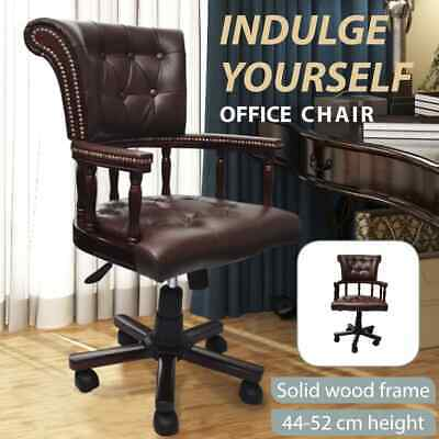 AU326.99 • Buy Vintage Genuine Leather Chair Office Arm Brown Chesterfield Captains Executive