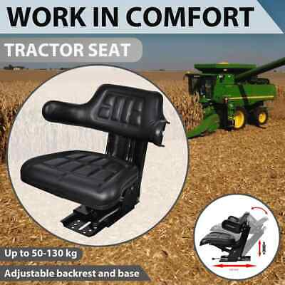 AU152.99 • Buy VidaXL Tractor Seat With Suspension Black Leather Replace Excavator Chair