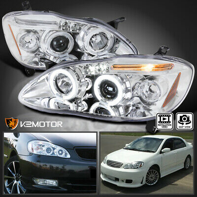 $124.38 • Buy For 2003-2008 Toyota Corolla Dual Halo+LED Projector Headlights Left+Right