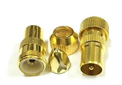 £3.95 • Buy Male Gold TV Aerial Connectors. Pk Of 2 - RF Cable Coax Plug Coaxial - Freeview