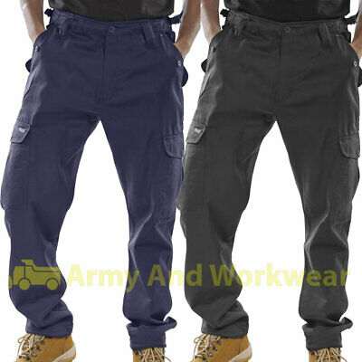 £10.99 • Buy Mens Combat Trousers 6 Pocket Cargo Plain Army Work Pants Security Black Or Navy