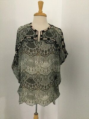 $ CDN51.55 • Buy NEW Anthropologie Lace Print Beaded Cocoon Blouse Size Large