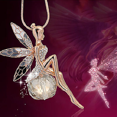 $1.32 • Buy Fashion Women Crystal Fairy Angel Wing Pendant Long Chain Sweater Necklace Gift