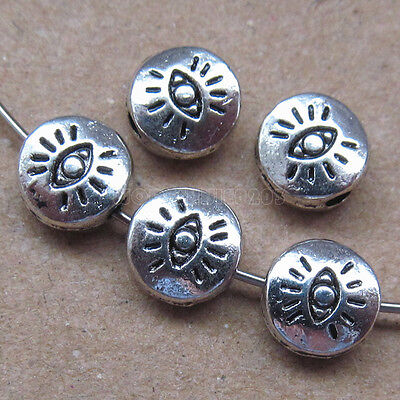 25pc Retro Tibetan Silver 2-Sided Eyes Spacer Beads Accessories Findings PJ0131 • 1.89£