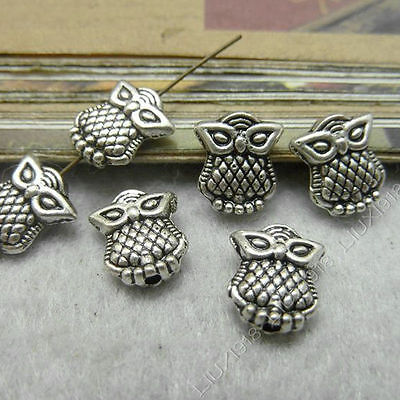 30pc Tibetan Silver Charms 2-Sided Owl Animal Spacer Beads Accessories PJ127 • 1.89£