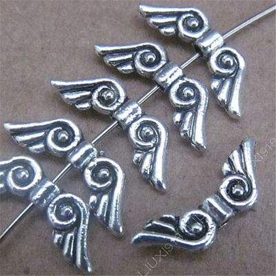 50pc Retro Tibetan Silver Small Wings Spacer Beads Findings Accessories PJ479 • 1.89£