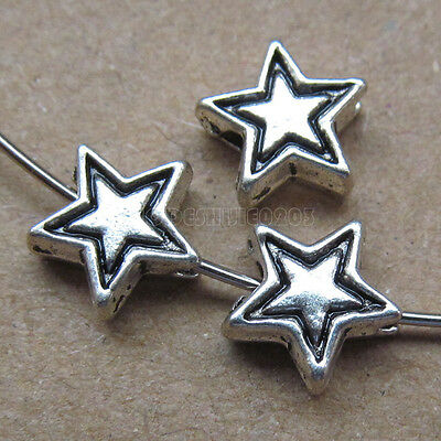 25pc Retro Tibetan Silver 2-Sided Five-pointed Star Spacer Beads Findings PJ0129 • 1.89£