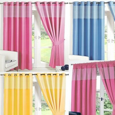GINGHAM KIDS BEDROOM CURTAINS Thermal Blackout Curtain Eyelet Or Pencil Pleat  • 15.99£
