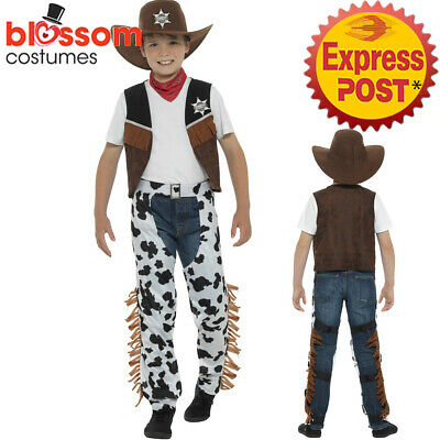 CK987 Boys Texan Cowboy Costume Child Wild Western Woody Book Week Outfit + Hat • 21.59£