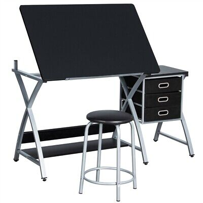 Tiltable Drawing Board Table Art Drafting Study Desk W/ Stool 3 Drawers Grey • 101.99£