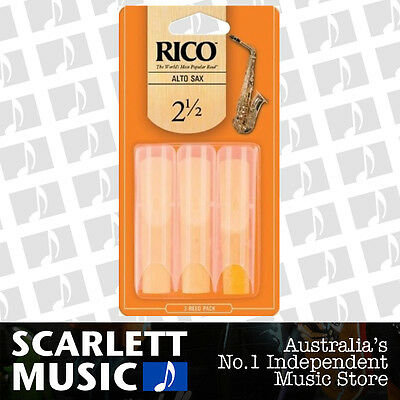 AU15.95 • Buy Rico Alto Sax Eb Saxophone 3 Pack Reeds Size 2.5 ( 2 1/2 - Two And A Half ) 3PK
