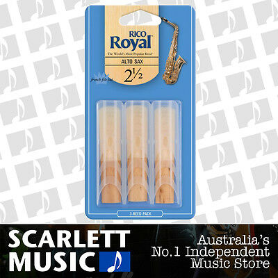AU16.95 • Buy Rico Royal Alto Sax Saxophone 3 Pack Reeds Size 2.5 (2 1/2 - Two And A Half) 3PK