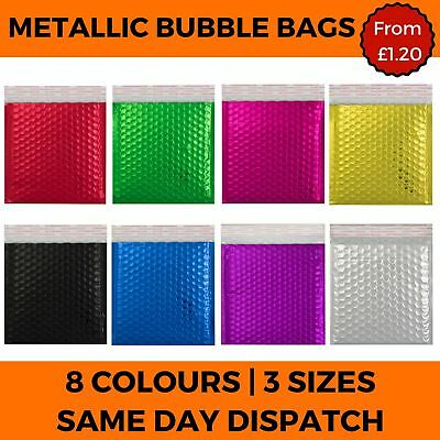 Metallic Bubble Envelope Mailing Bags Foil Gloss Postal Padded Pouch 8 Colours • 6.16£