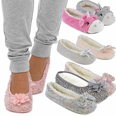 AU14.70 • Buy Ladies Novelty Unicorn Coral Fleece,Jersey Ballet Slippers With 3D Horn Tootsies