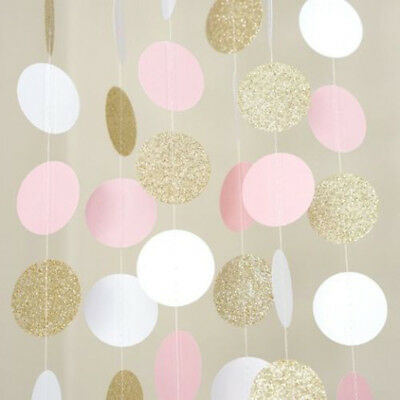 Glitter Circle Polka Dots Garland Banner Bunting Party Decor Pink White And Gold • 0.99£