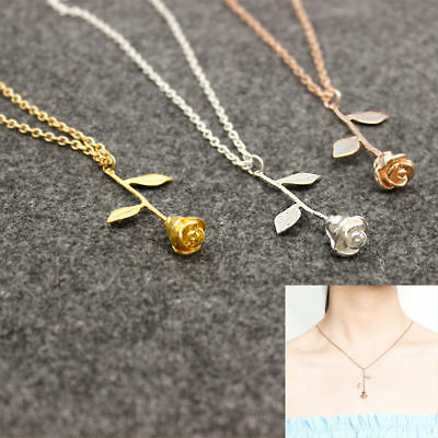 $0.76 • Buy Women Fashion Rose Flower Charm Necklace Pendant Rose Gold Silver Jewelry Gift