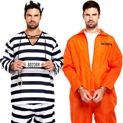 Prisoners Mens Fancy Dress Convict Inmate Robber Uniform Adults Costume Outfits • 11.99£
